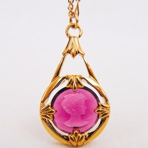 Amethyst Colored Glass Avon Cameo Pendant Necklace